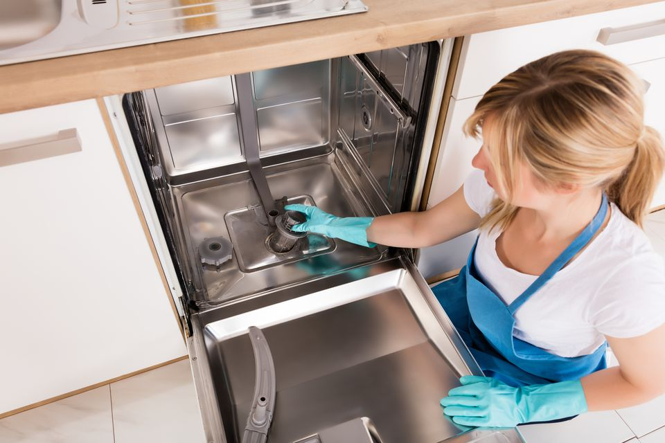 Woman Fixing Her Own Dishwasher