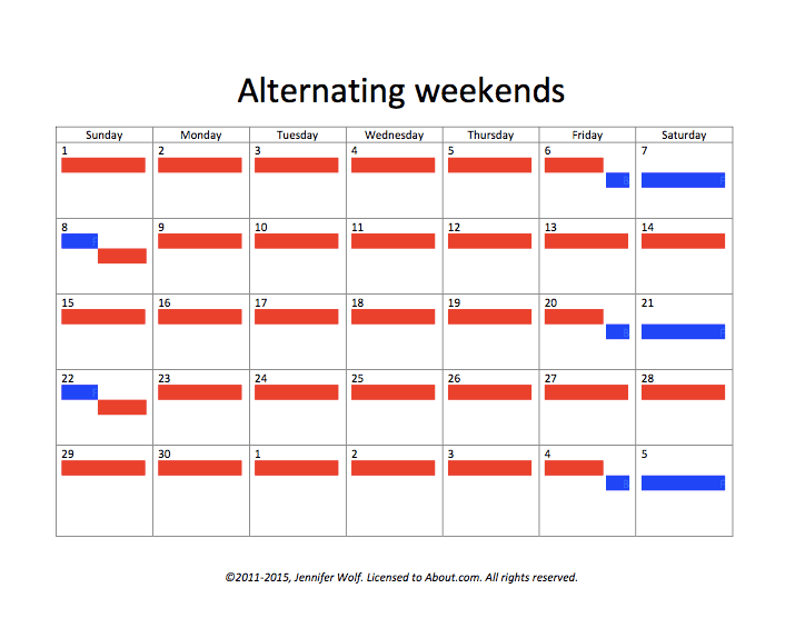 Creative Options for Child Visitation Schedules – Weekend Scheduled Template