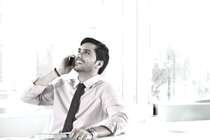 Businessman talking on his mobile phone.