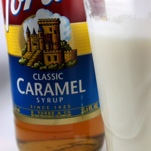 An image of a Caramel Steamer made of steamed milk and Caramel Torani Syrup.