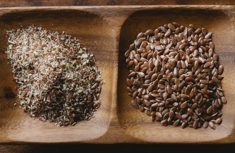 Whole flaxseeds with ground flax seeds