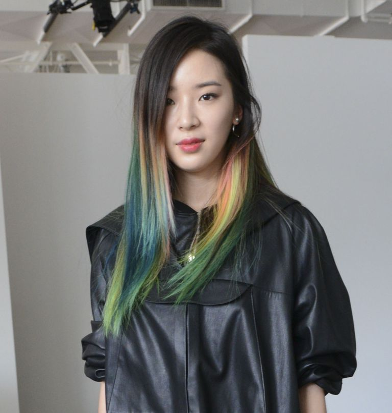 Irene Kim in gorgeous teal hair color