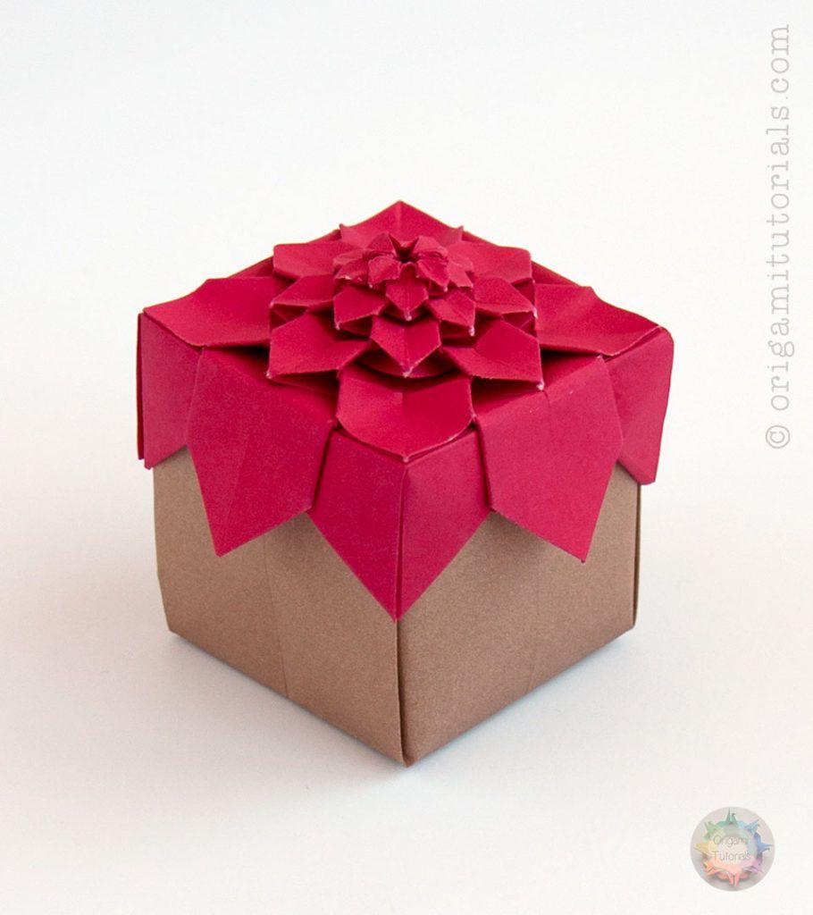 10 cute paper boxes you can diy origami hydrangea tessellation box jeuxipadfo Gallery