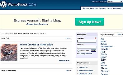Wordpress Home Page Screen Shot