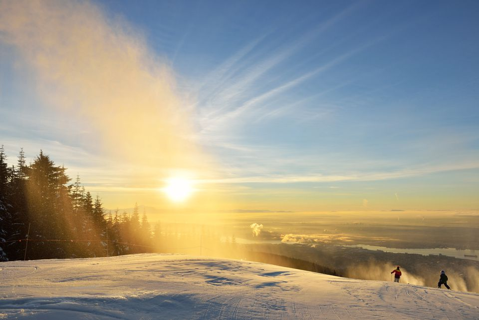 New Year's Day sunrise at Grouse Mountain Ski Hill