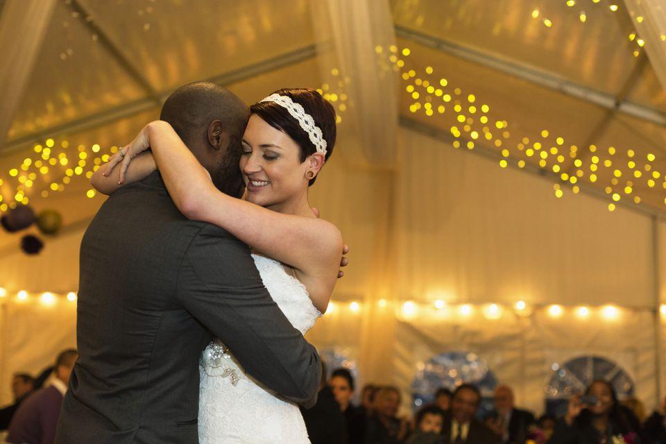 Newlywed couple dancing at reception