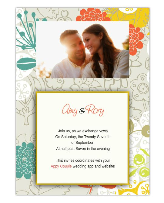a colorful online wedding invitation with a photo - Wedding Invitations Online