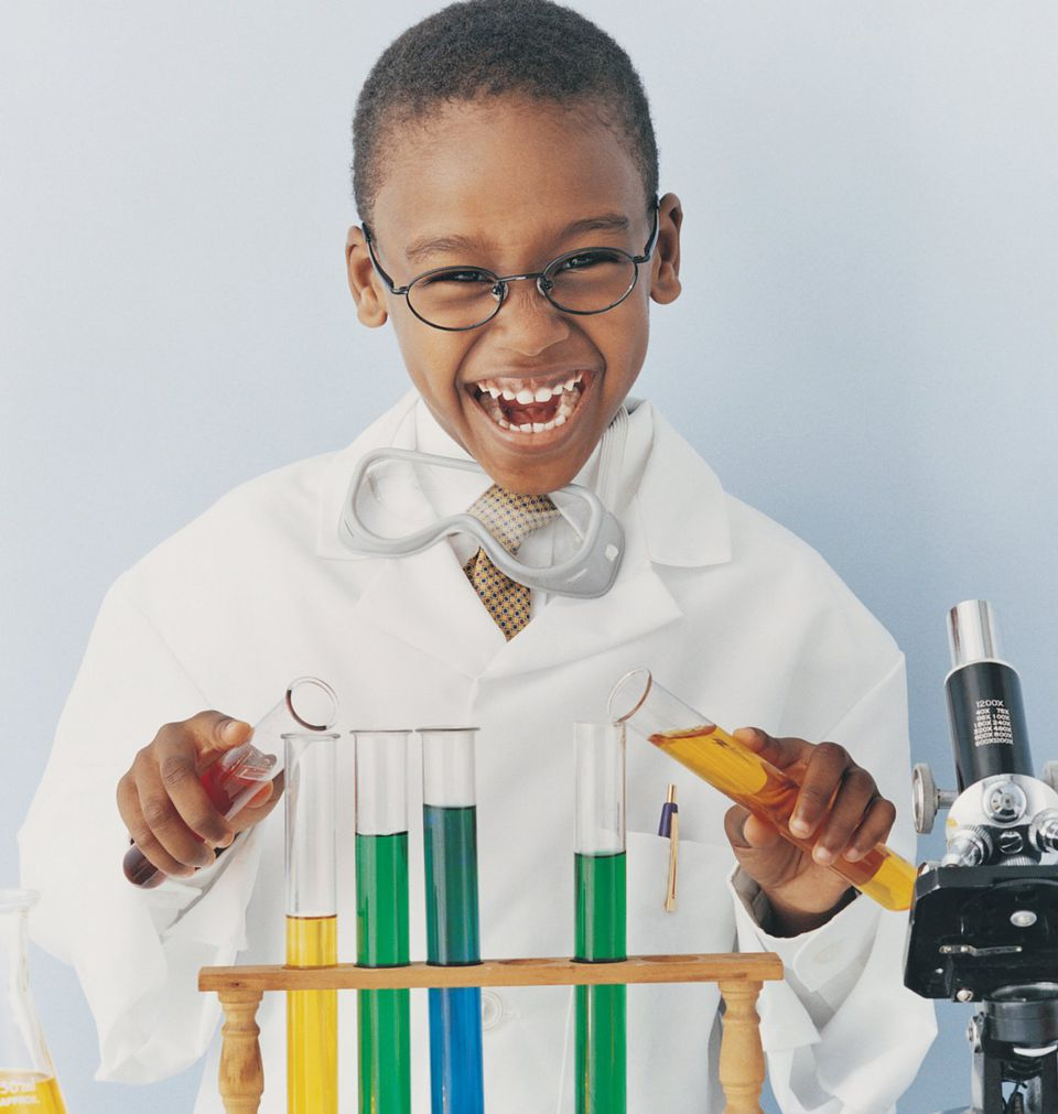 A picture of a child conducting science experiments