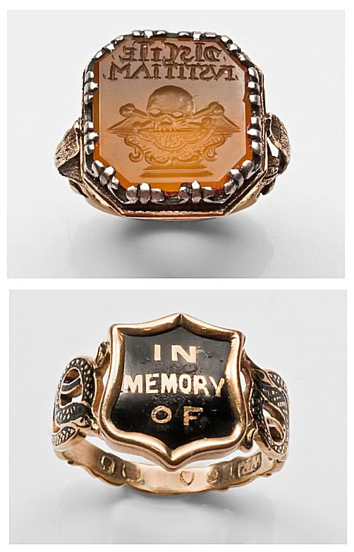 Louis XIV carnelian memento mori intalgio ring with skull carving, c.1680 (top);