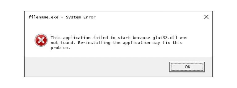 Screenshot of a glut32 DLL error message in Windows