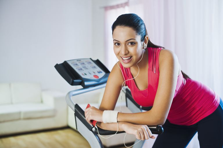 Woman on Home Treadmill