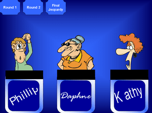 Screenshot of a Jeopardy PowerPoint template with 3D cartoons