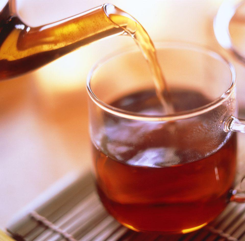Pouring black tea