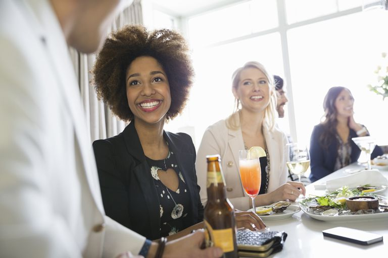 Woman on a date at a bar