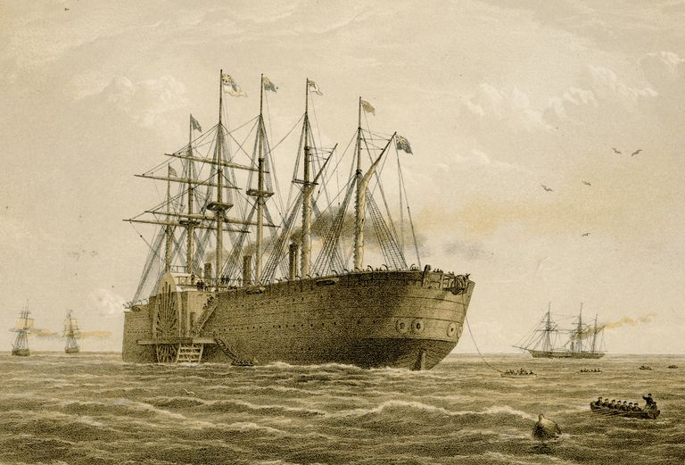 Illustration of the Great Eastern laying the Atlantic telegraph cable