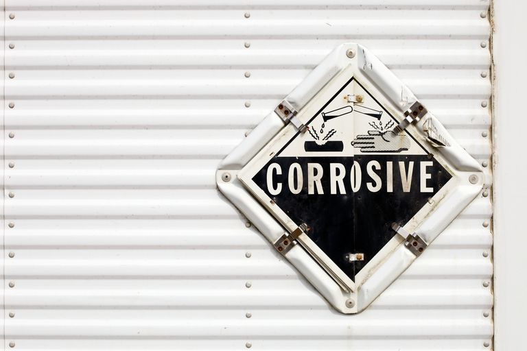 This is the hazard symbol indicating corrosive materials.