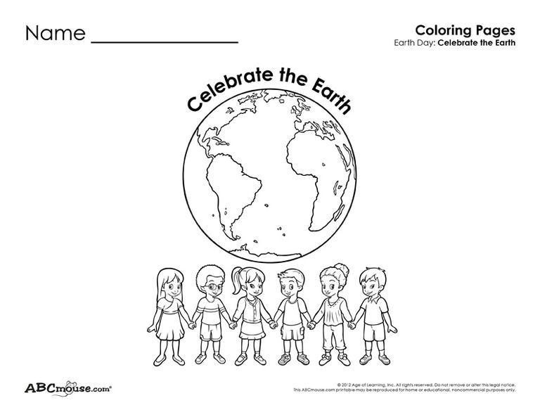 Earth Day coloring page from ABCmouse.com.