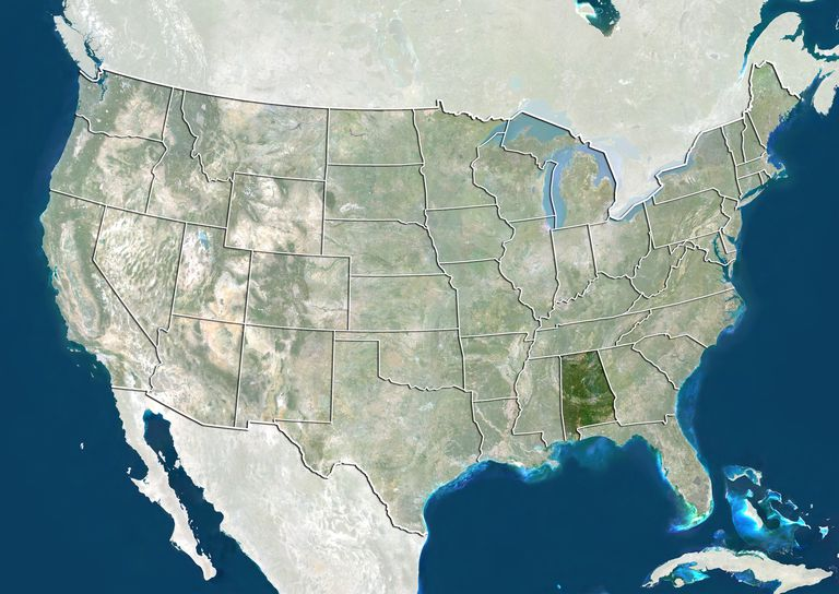 United States and the State of Alabama, True Colour Satellite Image