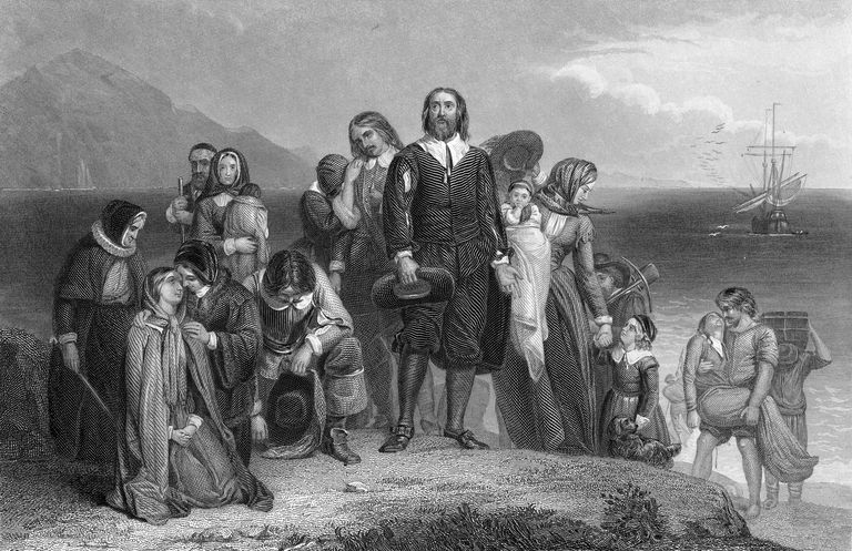 An engraving of the pilgrims at Plymouth rock