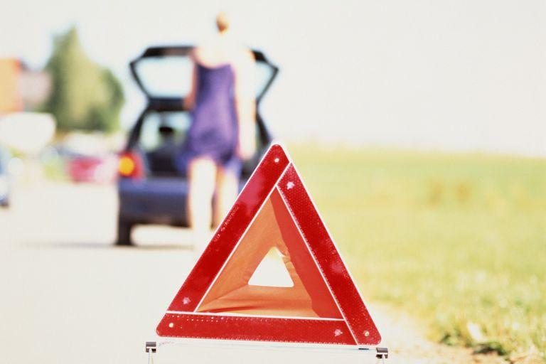 warning triangle on breakdown lane