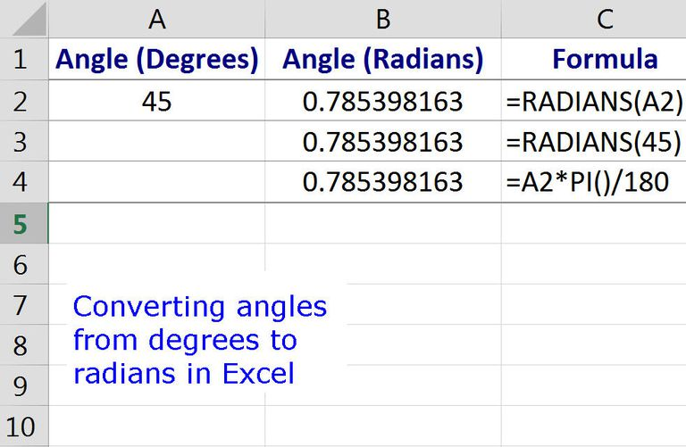 Converting Angles from Degrees to Radians with Excel's RADIANS Function