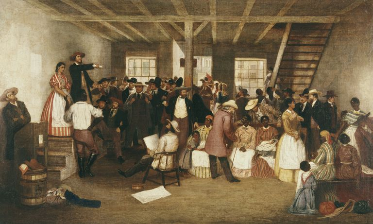 Painting of a slave auction.