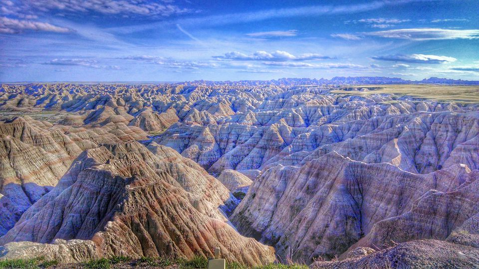 Scenic view of layered Badlands