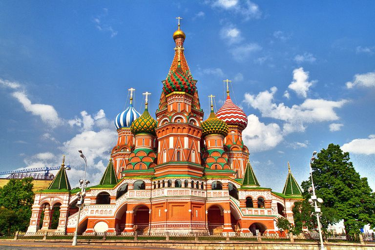 Side view of St. Basil's Cathedral in Moscow on Red Square in front of Kremlin.