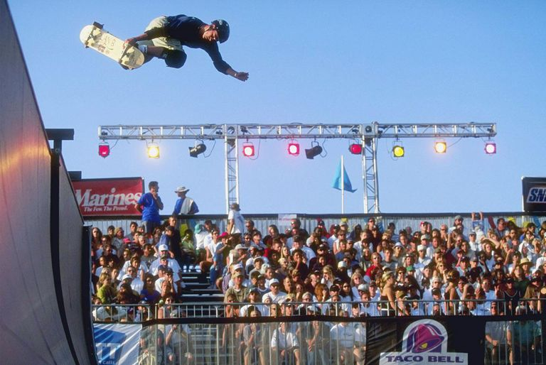 SAN DIEGO, CA - JUNE 26: Colin McKay leaps into the air aboard his skateboard during an event of the ESPN X-Games on June 26, 1997 at Mariner's Point in San Diego, California.