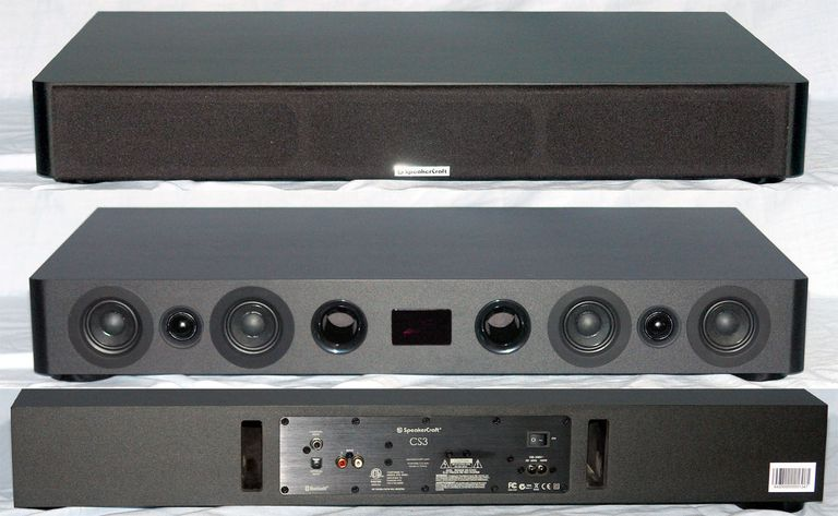 SpeakerCraft CS3 TV Speaker - Front and Rear Views