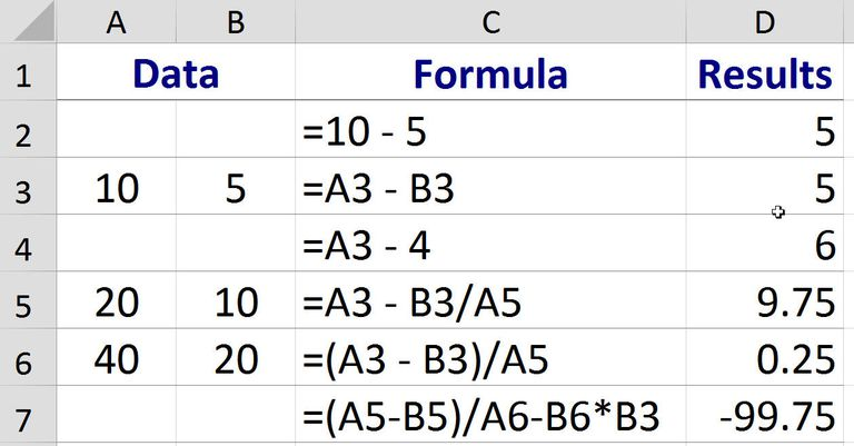 How to Subtract in Excel using a Formula
