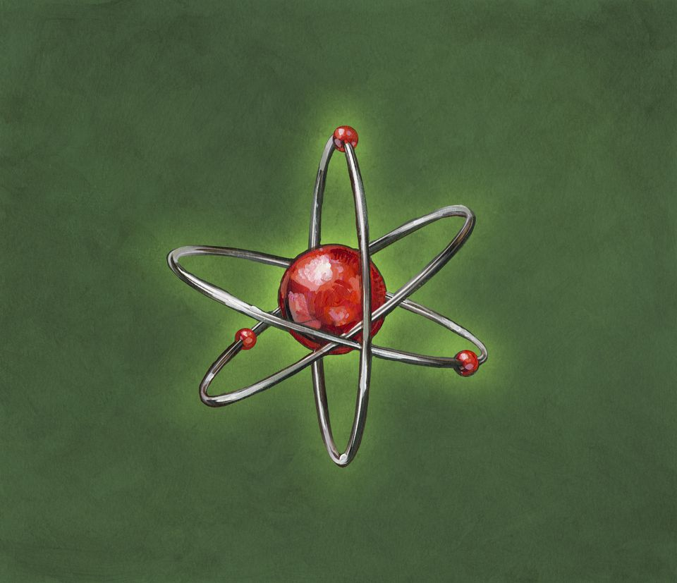 Atom with electrons orbiting it