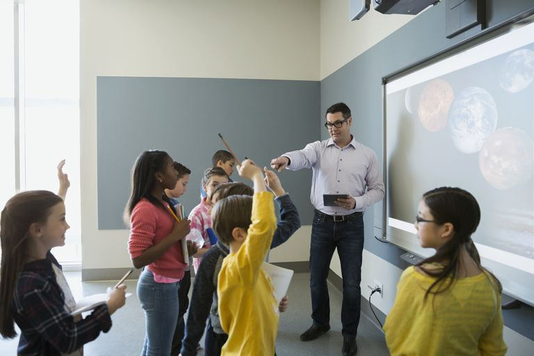 Students asking questions of teacher leading astronomy lesson
