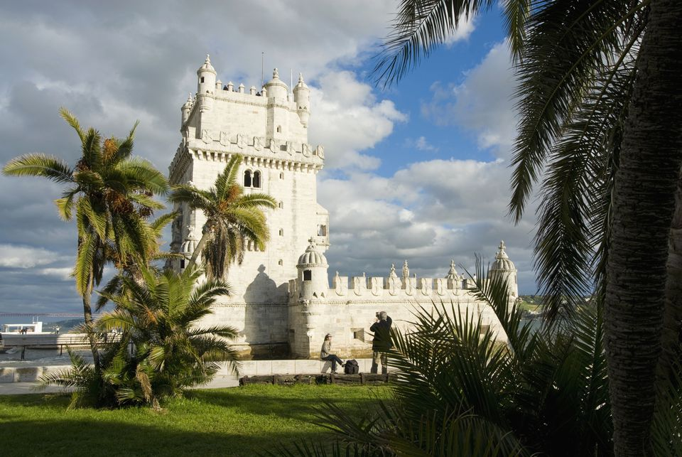 Belem Tower And Palm Trees, Belem,Portugal