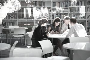 Business professionals collaborating in a meeting