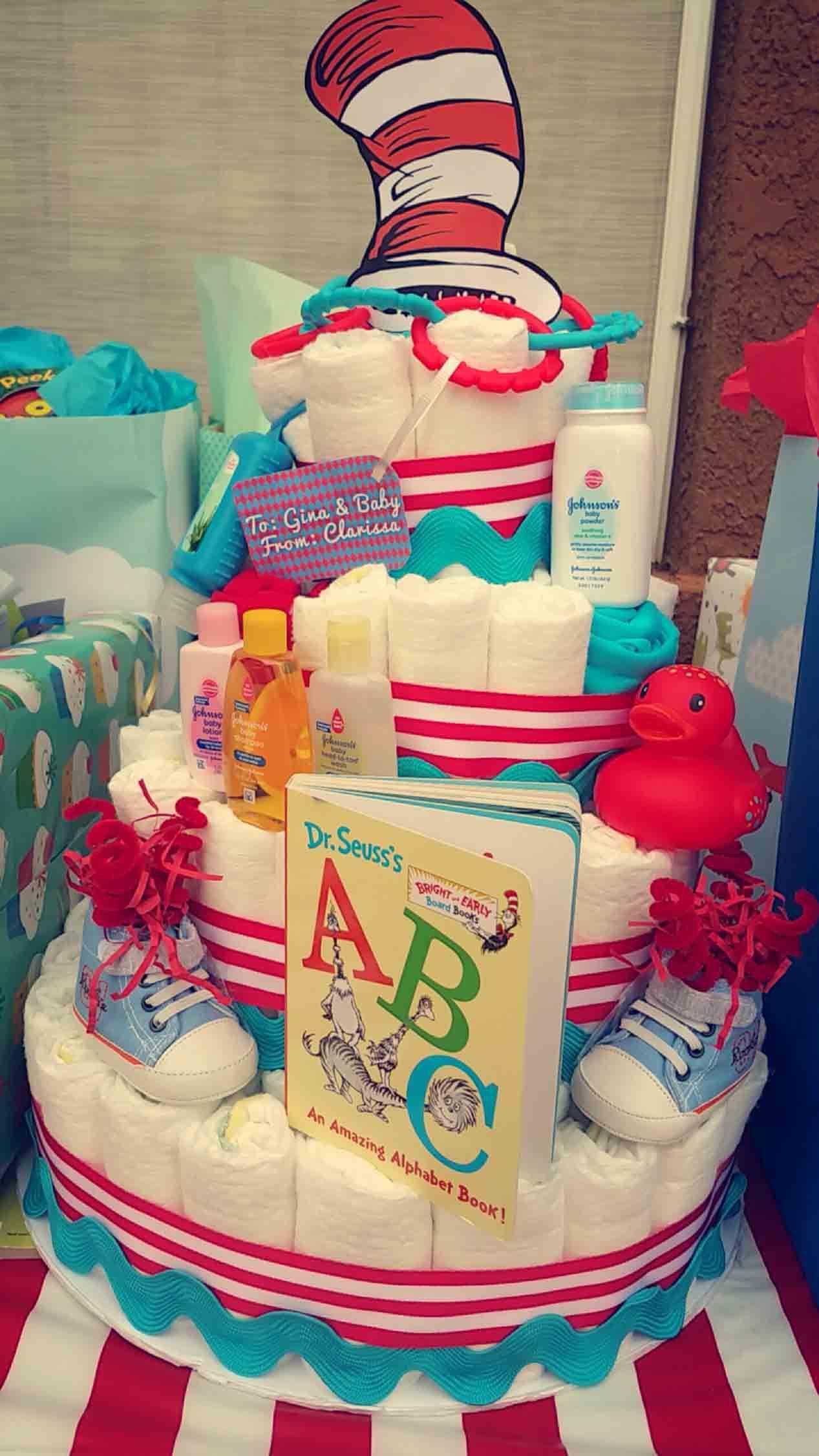 How to Make a Diaper Cake WIth a Dr Seuss Theme