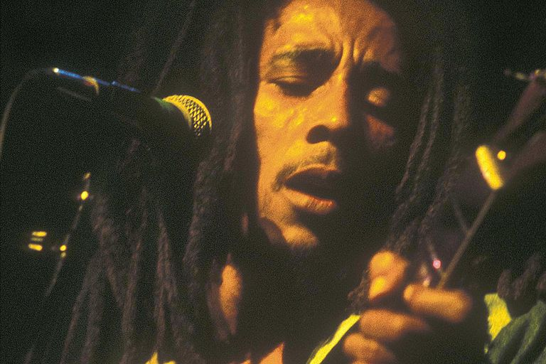 Jamaican reggae legend Bob Marley (1945 - 1981) on stage at the Rainbow Theatre, London, 2nd June 1977