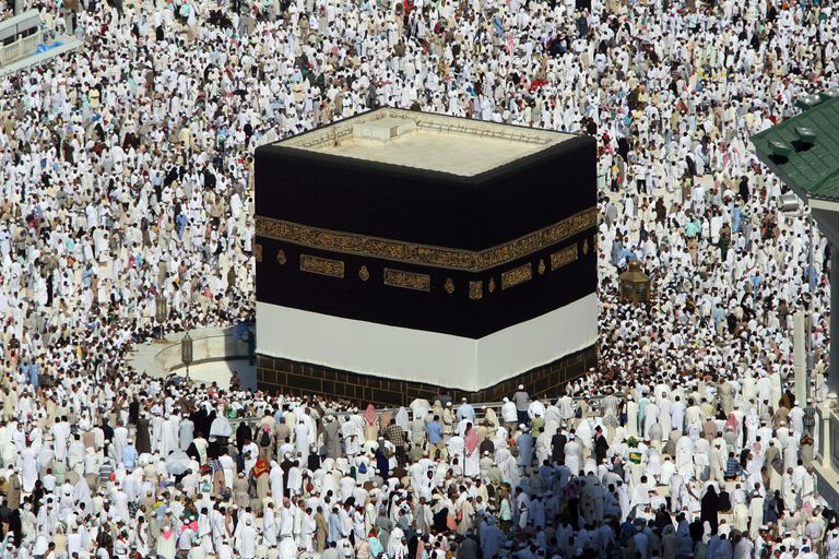Tens of thousands of Muslim pilgrims performing the Hajj attend the Friday prayers inside and outside the Grand Mosque, in Makkah, Saudi Arabia.
