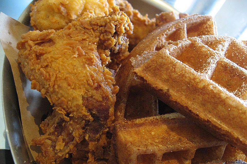 Buttermilk fried chicken and waffles
