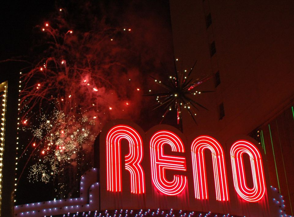 New Year's Eve fireworks in downtown Reno, Nevada.