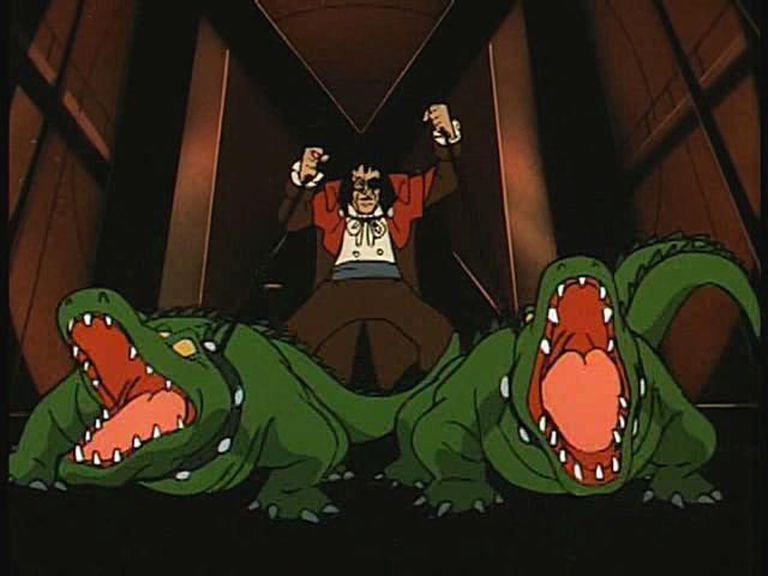 The Sewer King, from Batman, with alligators on leashes.