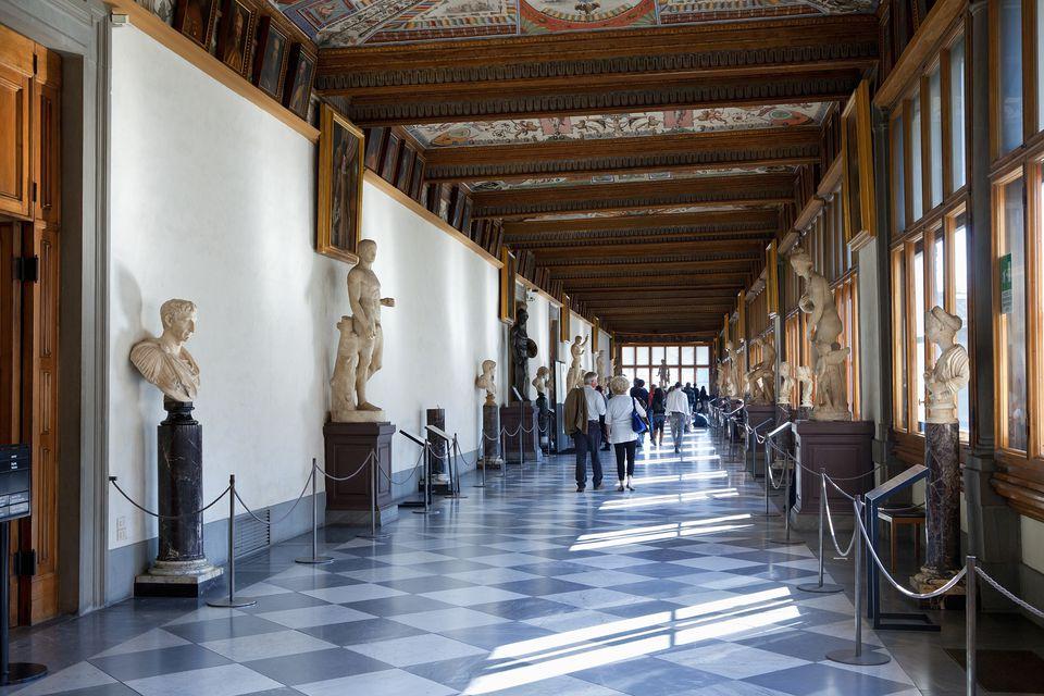 Italy, Florence, Interior of Galleria degli Uffizi