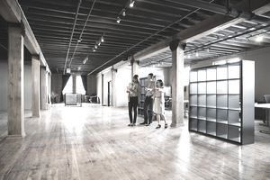 Entrepreneurs looking at creative office space