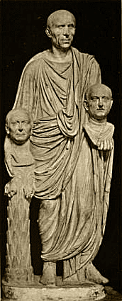Togatus Barberini Marble, late 1st century B.C. Roman senator holding ancestral busts.