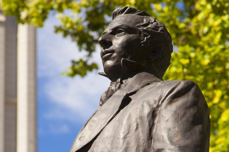 Statue of Joseph Smith, founder of The Church of Jesus Christ of Latter-day Saints, on Temple Square in Salt Lake City, Utah, USA