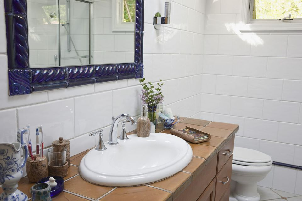 Bathroom Large White Subway Tile and Tiled Counter