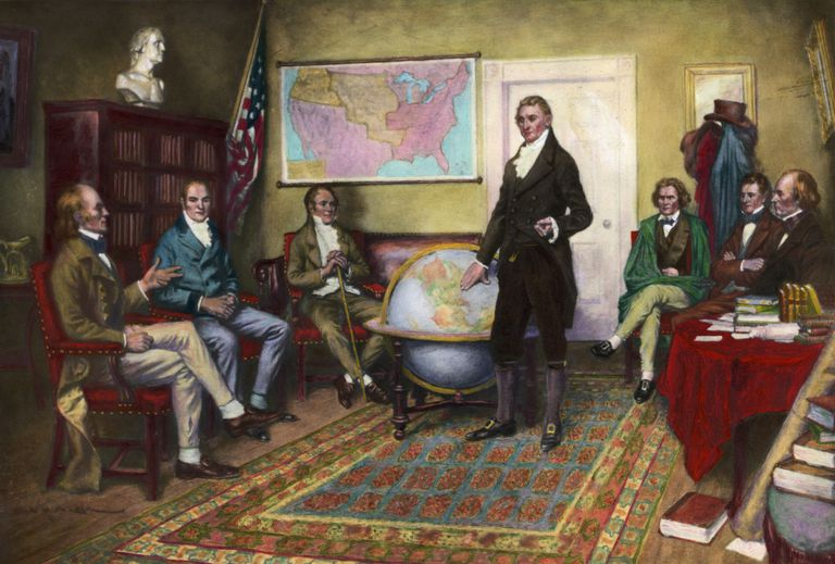 Painting of Officials Creating Monroe Doctrine