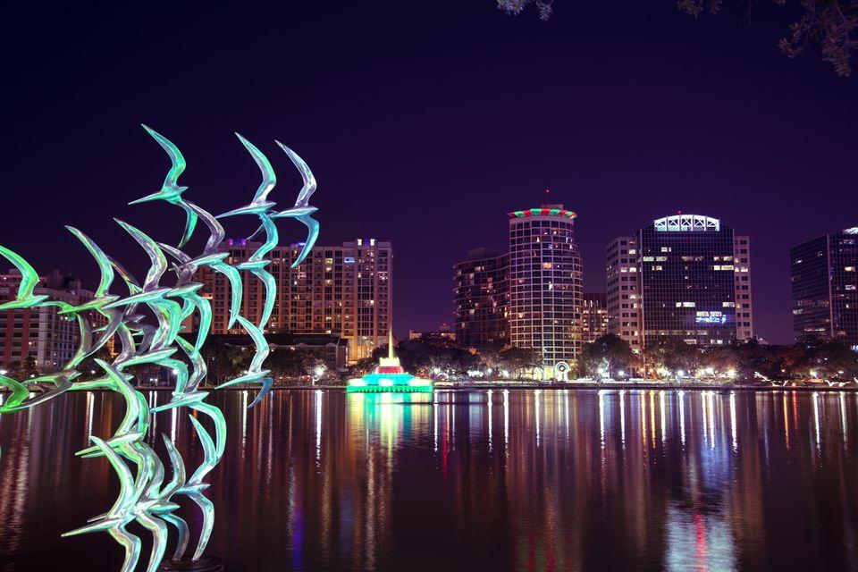 Lake Eola by night, Orlando Florida