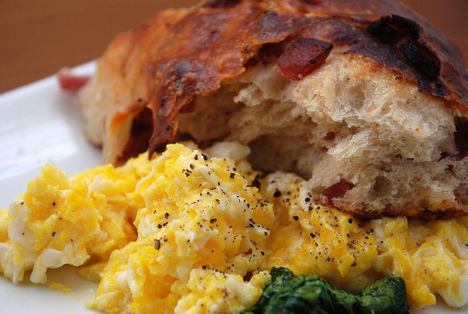 Lard bread, fresh market eggs, winter spinach