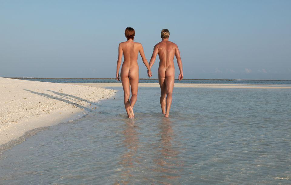naked couple on a beach